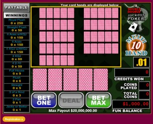 10Hand Double Double Jackpot Video Poker