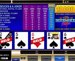 Deuces and Joker Video Poker