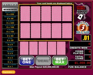 3Hand Double Double Bonus Video Poker