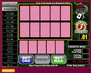 3Hand Double Double Jackpot Video Poker