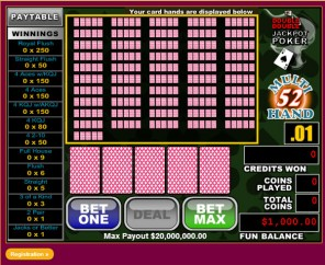 52Hand Double Double Jackpot Video Poker