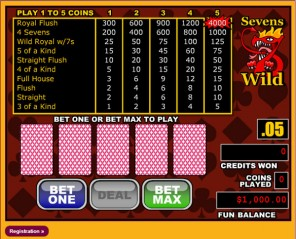 Sevens Wild Video Poker